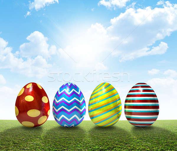 Pâques pelouse ensemble quatre couvert œufs de Pâques Photo stock © albund