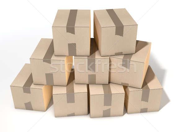 Cardboard Box Pile Stock photo © albund