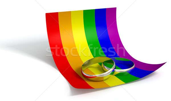 Mettre date anneaux gay papier mariage Photo stock © albund