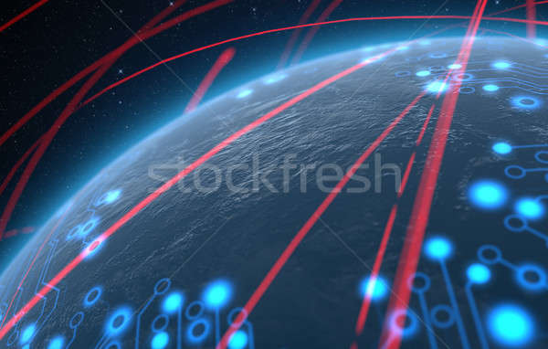 Planet With Illuminated Network And Light Trails Stock photo © albund