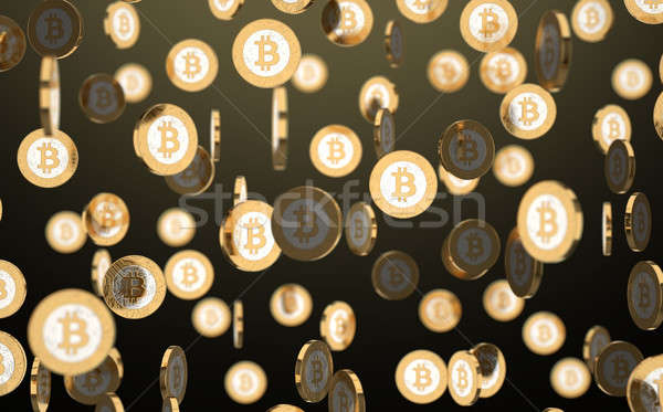 Stock photo: Falling Spinning Cryptocurrency