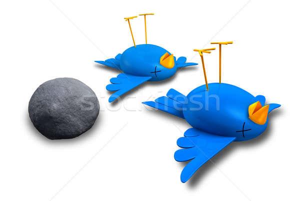 Stock foto: Töten · zwei · Vögel · ein · Stein · Karikatur