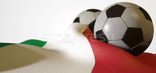 Italy Flag And Soccer Ball Stock photo © albund