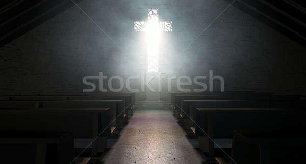 Stained Glass Window Crucifix Church Stock photo © albund