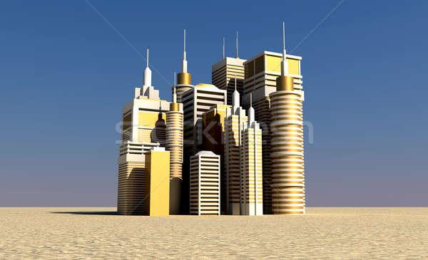 Or ville sur désert faible Photo stock © albund