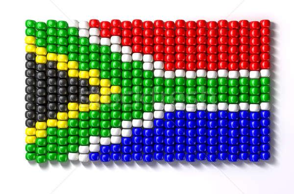 Dél-afrikai üveggyöngy zászló hagyományos izolált zöld Stock fotó © albund