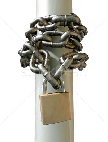 Wrapped Chain And Padlock Front Stock photo © albund