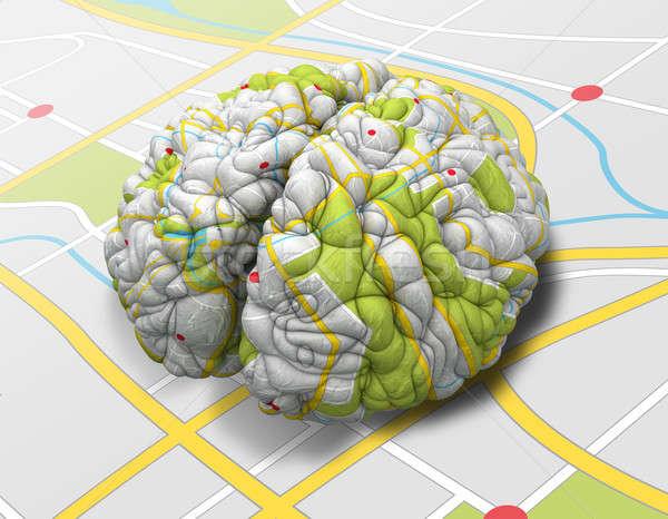 Elme térkép agy nézőpont egyszerű autótérkép Stock fotó © albund