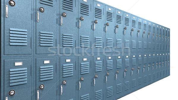 Mavi okul perspektif görmek Metal Stok fotoğraf © albund