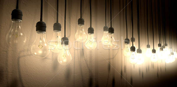 Light Bulb Hanging Wall Arrangement Perspective Stock photo © albund