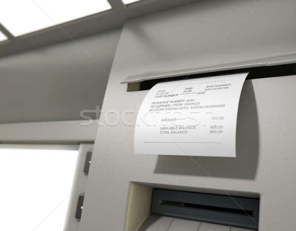 Bankautomata cédula nyugta közelkép kilátás nyomtatás Stock fotó © albund