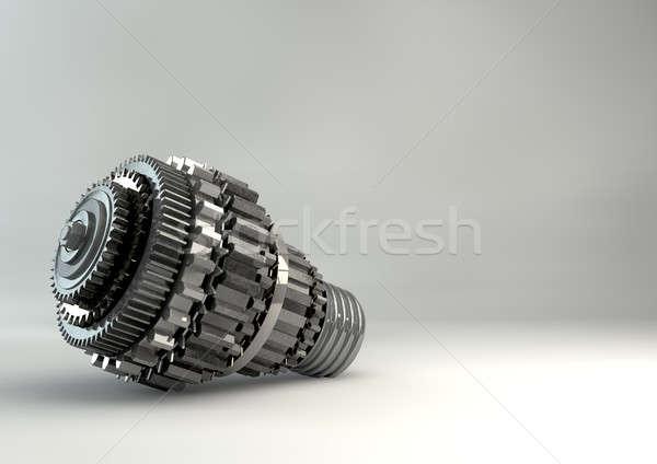 Cogwheel Lightbulb Shape Concept Stock photo © albund