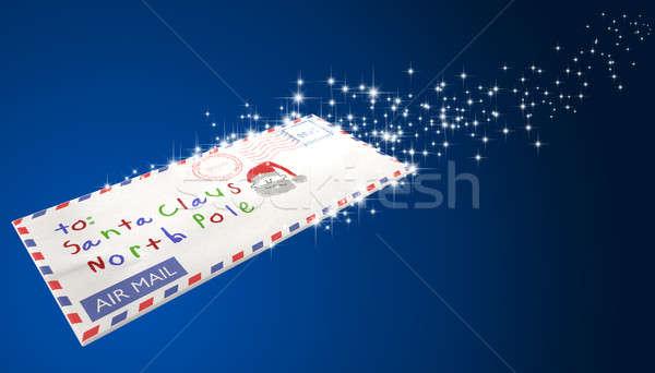 Brief luchtpost envelop kerstman vliegen Stockfoto © albund