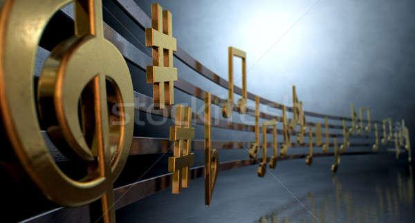 Arany hangjegyek hullámos vonalak mutat fémes Stock fotó © albund