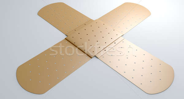 Flat Criss Crossed Plaster On White Stock photo © albund
