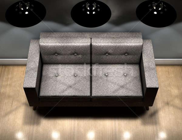 Modern Couch And Retro Lights Stock photo © albund