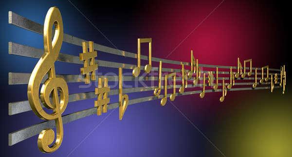 Ouro notas musicais ondulado linhas metálico Foto stock © albund
