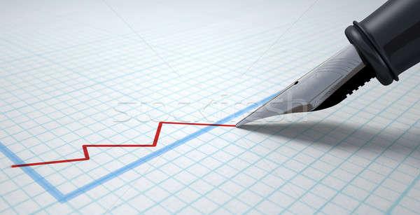 Töltőtoll rajz grafikon extrém közelkép piros Stock fotó © albund