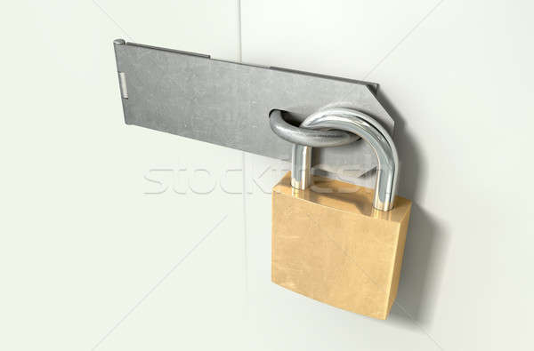 Padlock And Hasp Locked Perspective Stock photo © albund