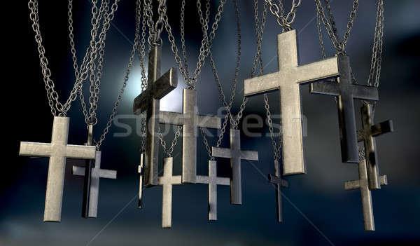 подвесной далеко группа металл цепями темно Сток-фото © albund