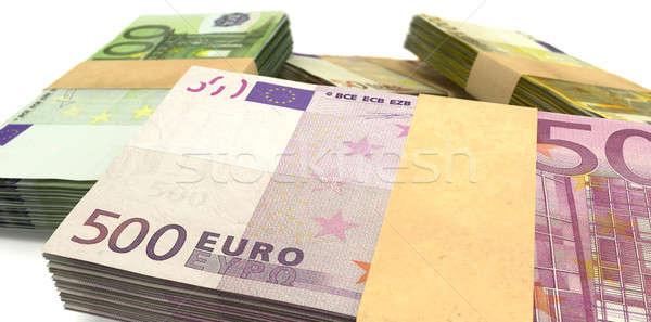 Euro Notes Bundles Stack Extreme Closeup Stock photo © albund