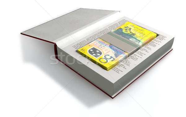 Concealed Australian Dollar Bank Notes In A Book Front Stock photo © albund