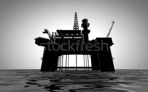 Plataforma de petróleo regular ver fora mar isolado Foto stock © albund