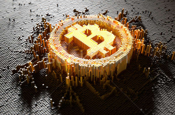 ピクセル bitcoinの 3dのレンダリング 微視的 クローズアップ 小 ストックフォト © albund