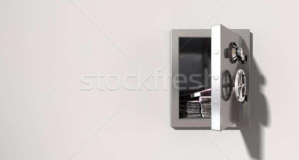 Open Safe On Wall With Euros Stock photo © albund