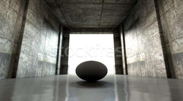 Pelota de rugby deportes estadio túnel distante mirar Foto stock © albund