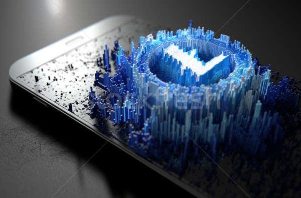 スマートフォン 微視的 クローズアップ 小 キューブ ランダム ストックフォト © albund