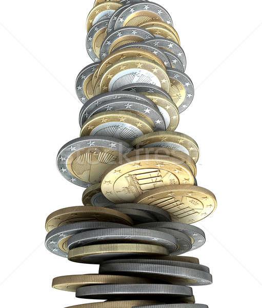 евро монеты неустойчивый деньги Сток-фото © albund