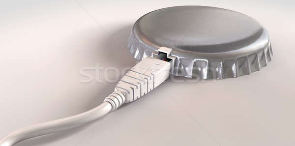 Internet Daten Bandbreite cap Ethernet Kabel Stock foto © albund