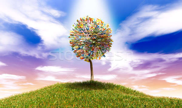 Stylised Money Tree Australian Dollar Notes On Grassy Hill Stock photo © albund
