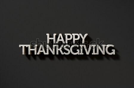 Happy Thanksgiving Text On Black Stock photo © albund