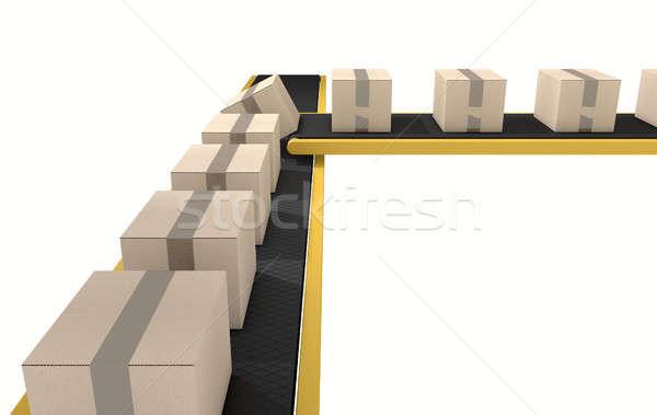 Belt Conveyor With Boxes Stock photo © albund