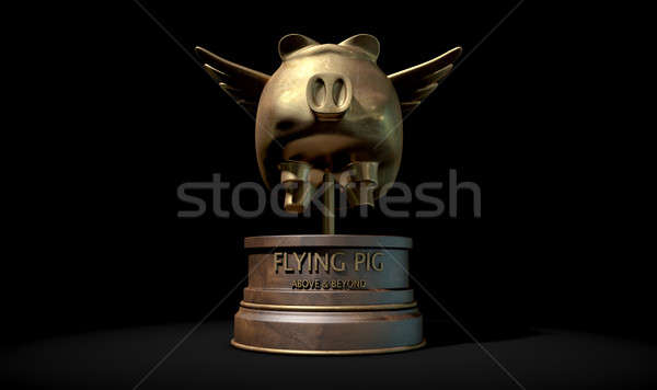 Flying Pig Trophy Award Stock photo © albund