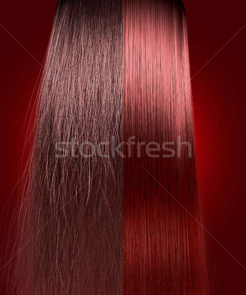 Red Hair Frizzy and Straight Comparison Stock photo © albund