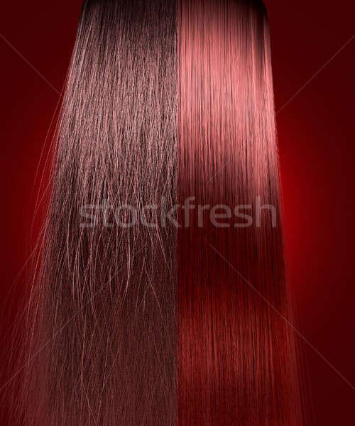 Vörös haj egyenes összehasonlítás tökéletes szimmetrikus kilátás Stock fotó © albund