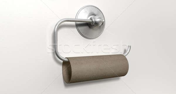 Vazio banheiro rolar cromo cabide papel higiênico Foto stock © albund