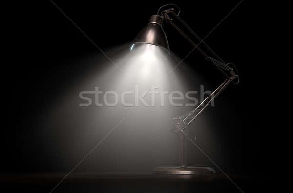 Vintage koper bureau lamp 3D Stockfoto © albund