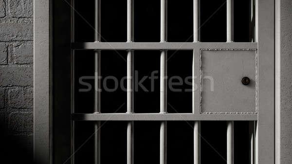 Celda de la cárcel puerta hierro bares primer plano mecanismo Foto stock © albund
