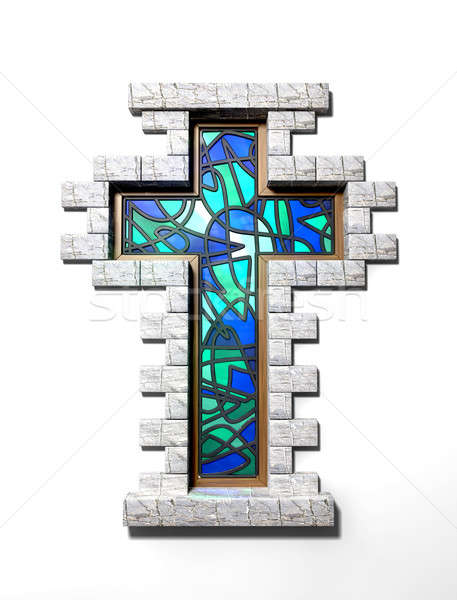 Stained Glass Crucifix Window Isolated Stock photo © albund