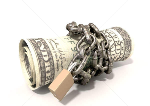Rolled Up And Shackled Dollars Lying Stock photo © albund