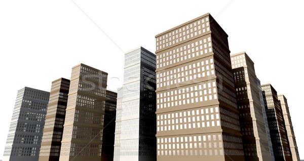 Bâtiment isolé ville gratte-ciel réfléchissant fenêtres Photo stock © albund