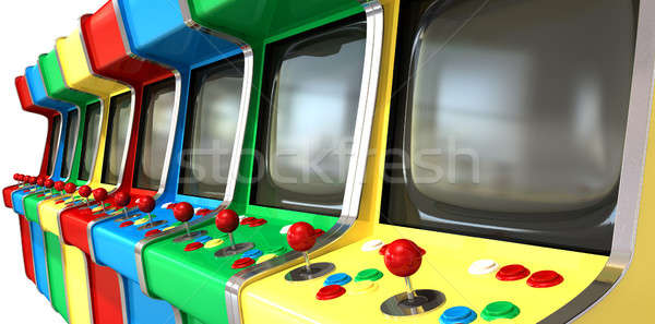 A flat row of vintage unbranded arcade games with joysticks and various colored buttons and a blank  Stock photo © albund