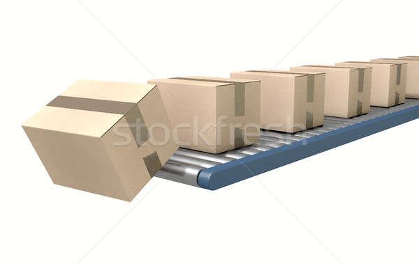 ストックフォト: ボックス · 段ボール · オフ · 孤立した