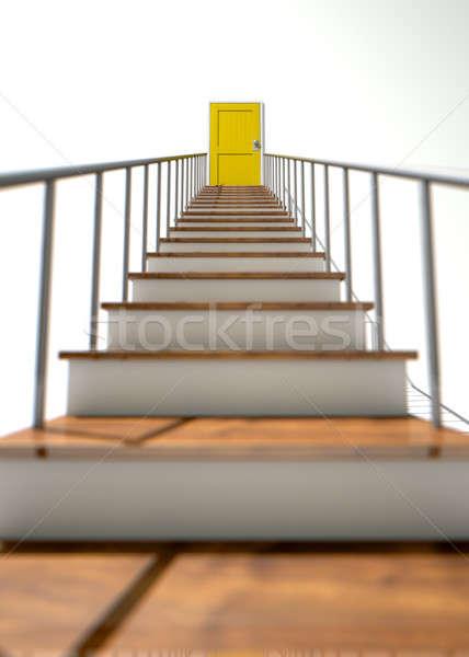 Klatka schodowa żółty drzwi schody kroki Zdjęcia stock © albund