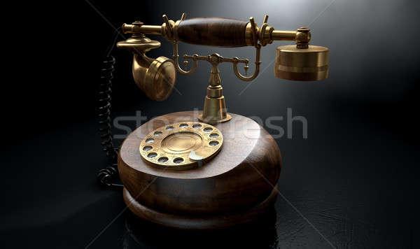 Stockfoto: Vintage · telefoon · donkere · geïsoleerd · hout · messing