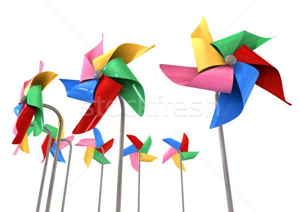 Colorful Pinwheels Isolated Stock photo © albund